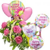 Flower Basket & 6 Balloons Gift Set