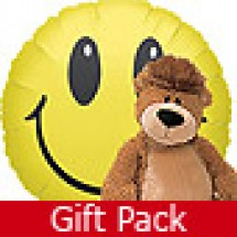 Balloon Gift by Post - Smiley Face and Teddy Bear