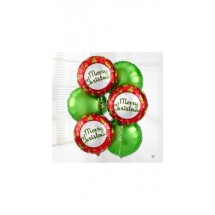 Merry Christmas Balloon Bouquet 18 Foil Balloon Bunch Of 6