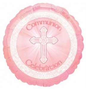 "Pink Communion 18"" Foil Balloon in a Box"