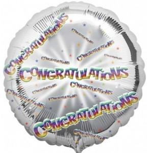 """Congratulations Silver 18"""" Balloon in a Box"""