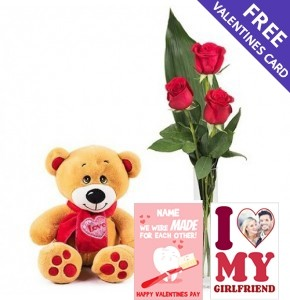 3 Red Roses & Teddy