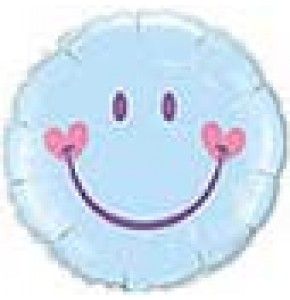 Sweet Smile Face Blue Balloon