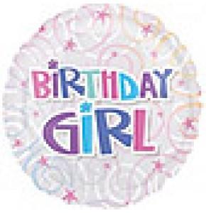 Birthday Girl Swirls Balloon
