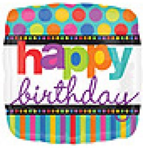 Happy Birthday Dots and Stripes Balloon
