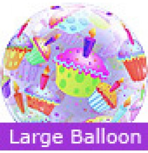 Large Cupcakes Birthday Bubble Balloon