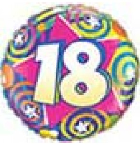 18th Birthday Stars and Swirls Balloon