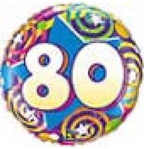 80th Birthday Stars and Swirls Balloon