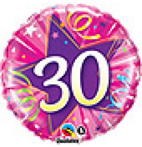 30th Shining Star Hot Pink Birthday Balloon