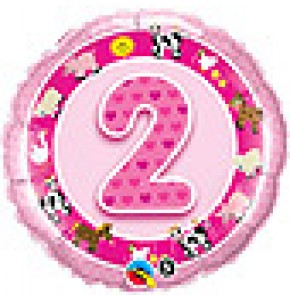 2nd Birthday Pink Farm Animals Balloon