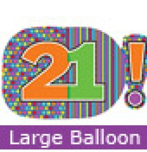 Large 21st Birthday Dots and Stripes Balloon
