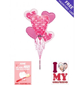 Big! Happy Heart Day Bouquet Balloons