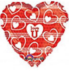 Love U White Hearts Balloon