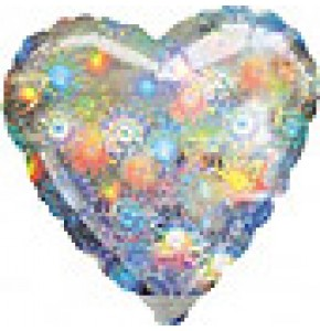 Holographic Fireworks Heart Balloon