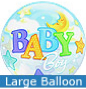 Large Baby Boy Moon and Stars Balloon