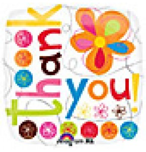 Thank You Colourful Flowers Balloon