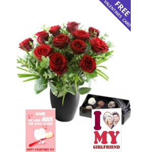 Twelve Red Roses with Luxury Chocolates