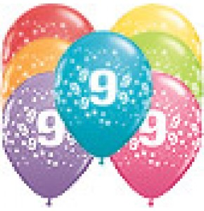 9th Birthday Stars Balloons