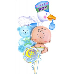 Baby Boy Balloon Bouquet Large