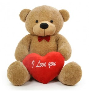 "Large Teddy Bear (I Love You With Heart) 48"" Tall"